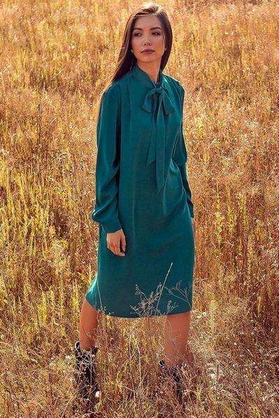 Платье до колена с завязкой цвета морской волны