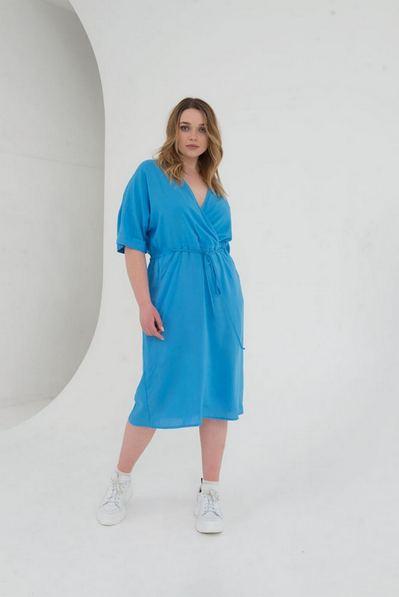 Миди платье с кулиской на лазурном большой размер