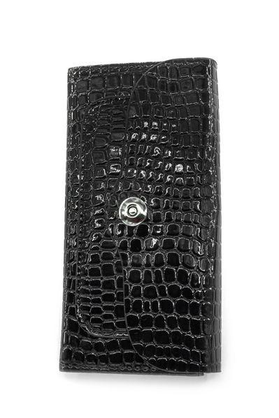 Кошелек лакированный рельефный черный