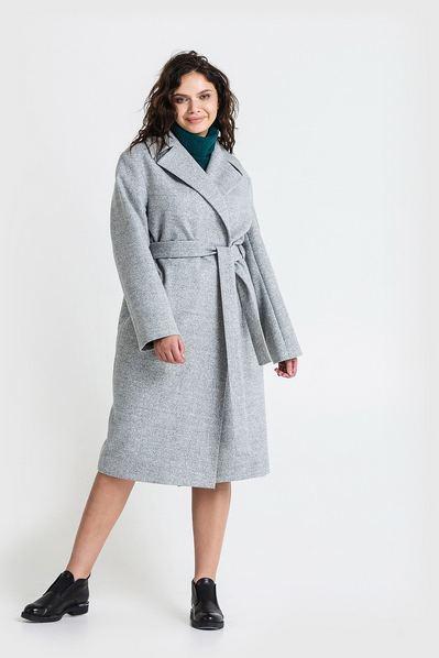 Женское пальто с запахом из кашемира светло-графитовое большой размер