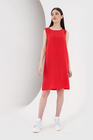 Красное платье майка из штапеля