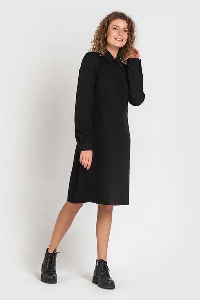 Черное платье до колен из костюмной ткани