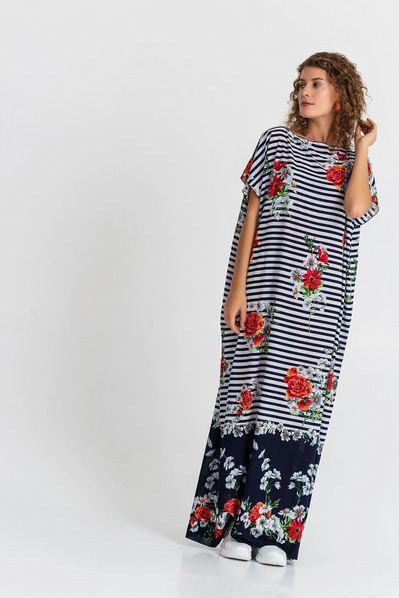 Длинное платье с принтом цветы на сине-молочной полоске
