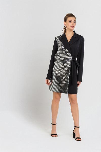 Мини платье жакет черное с металлическими треугольниками