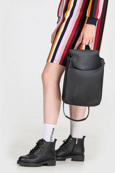 Черный рюкзак городской из эко-кожи