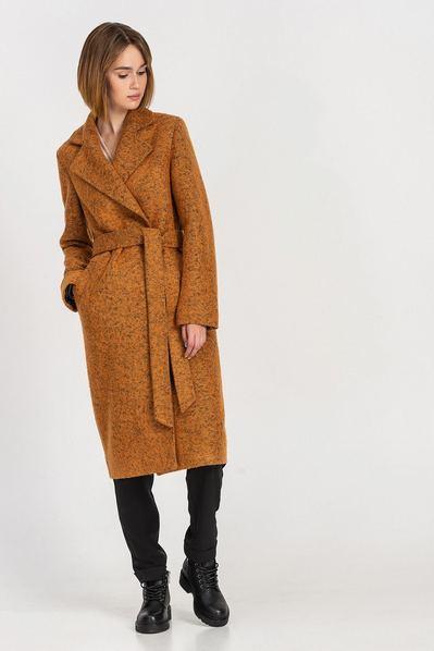 Горчичное пальто на запах из пальтовой ткани