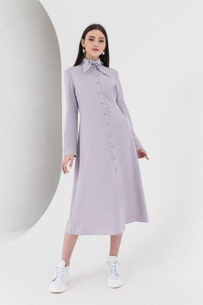 Светлое платье миди из костюмной ткани графит