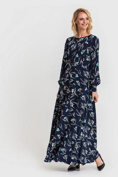 Длинное платье полусолнце небесные цветы на темно-синем