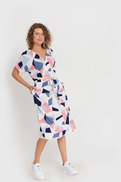 Молочное платье миди принт розово-синие фигуры