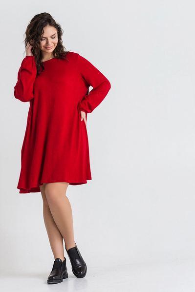 Трикотажное платье из ангоры красное большой размер