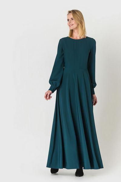 Длинное платье полусолнце изумрудное