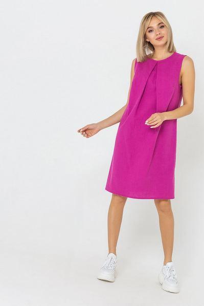 Льняное платье А-силуэта фуксия