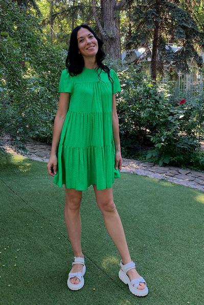 Травянное ярусное платье молочный горох