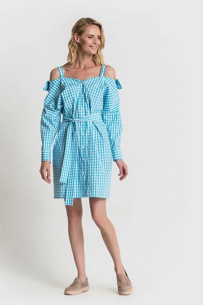 Платье рубашка с открытыми плечами в бирюзовую клетку