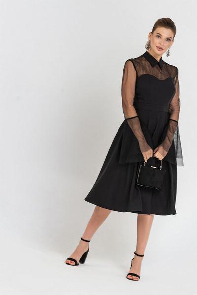 Черное платье до колен с воротником и рукавами из сетки
