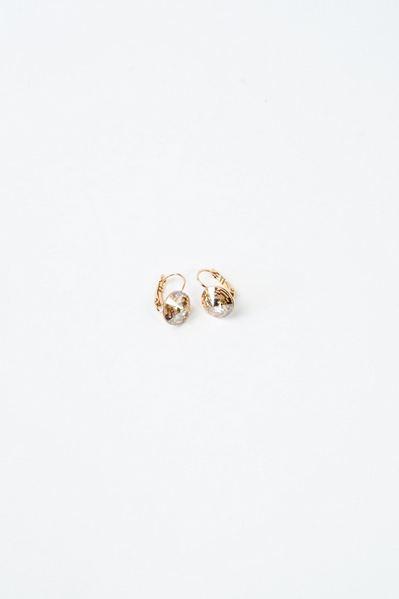Сережки золотистые с кристаллом Swarovski оранжевым