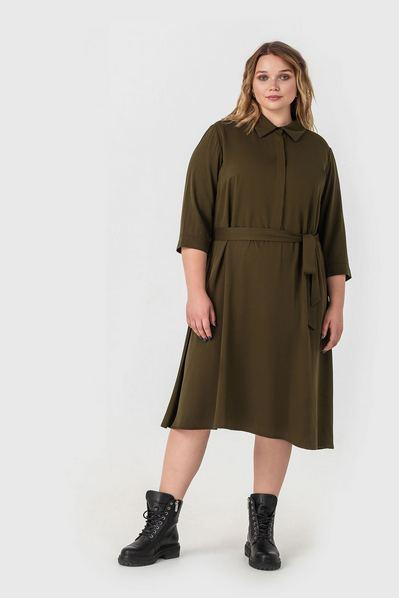 Миди платье-рубашка штапельное цвета хаки большой размер