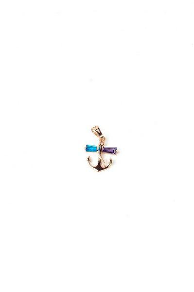 Кулон якорь с бирюзово-лиловыми камнями