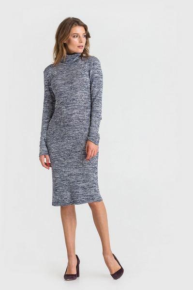 Трикотажное платье-гольф темно-синий меланж