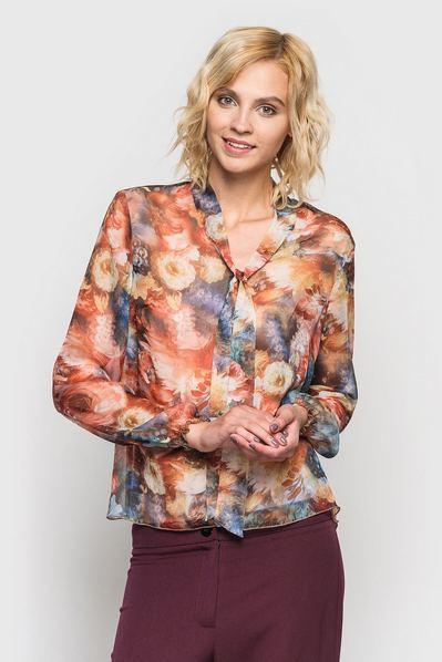Блуза из шифона с завязкой с принтом терракотовые цветы