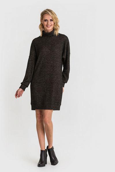 Трикотажное платье-свитер из ангоры меланж бежево-черная полоска