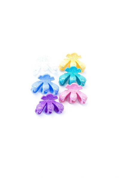 Набор разноцветных крабиков для волос с глиттером