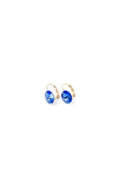 Серьги золотистые с синим кристаллом Swarovski