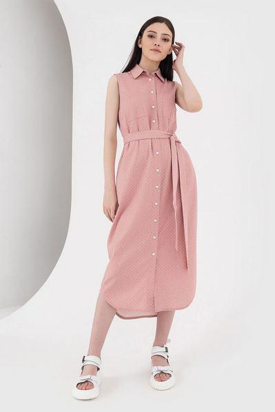Платье без рукавов с фигурным вырезом молочный горох на розовом