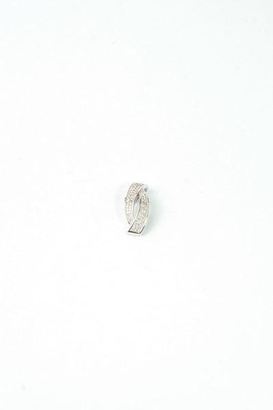 Кулон завиток с цирконием серебристый