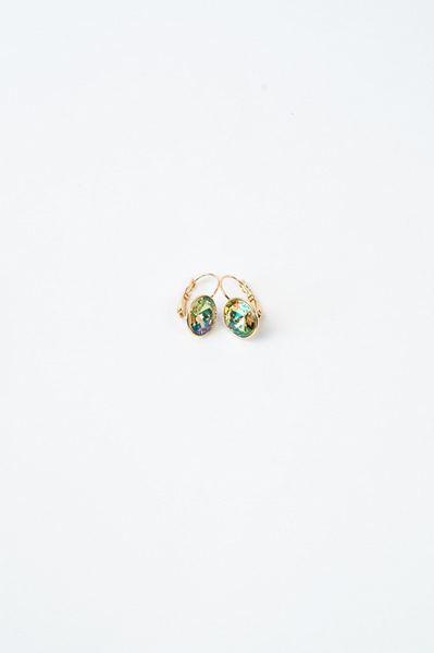 Сережки золотистые с кристаллом Swarovski салатовым