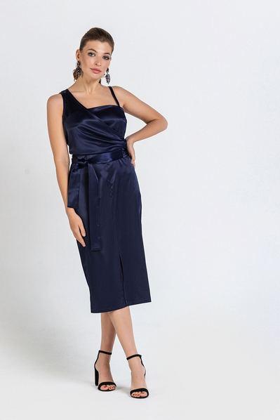 Cинее платье до колена без рукавов из атласа