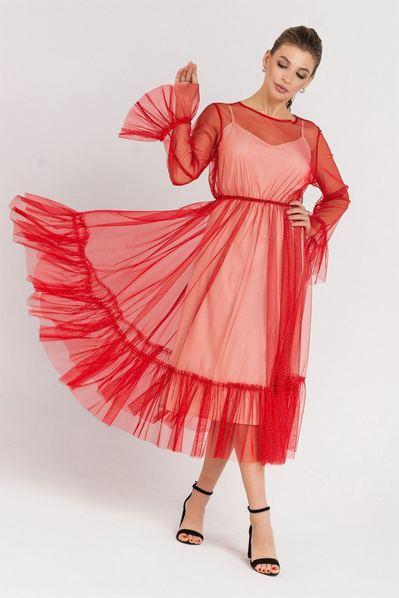 Красное платье миди с сеткой и оборками