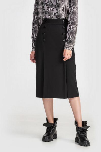 Черная юбка карандаш с пуговицами