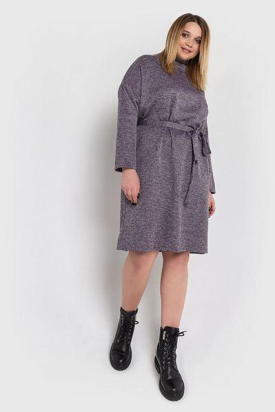 Теплое платье с поясом принт лавандово-черная гусиная лапка большой размер