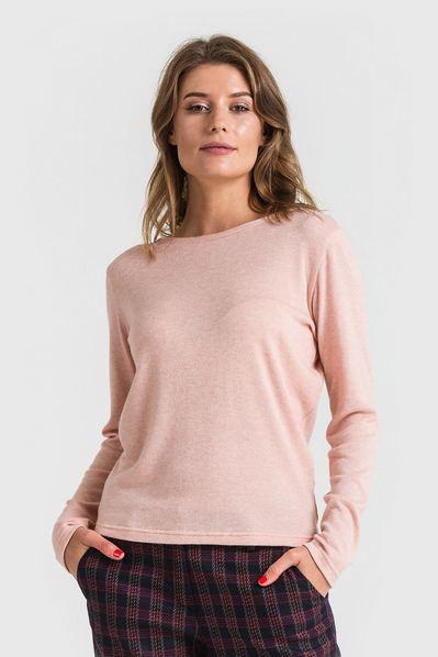 Трикотажный свитер из ангоры меланж пудровый