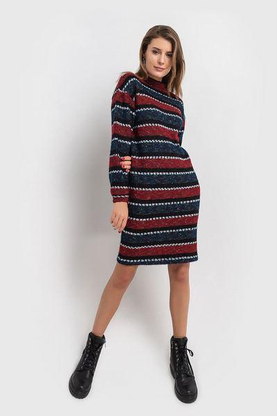 Бордово-синее платье свитшот деми