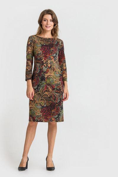 Трикотажное платье с восточным принтом на терракотовом фоне