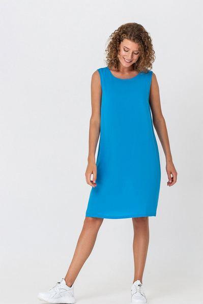 Голубое платье майка из штапеля