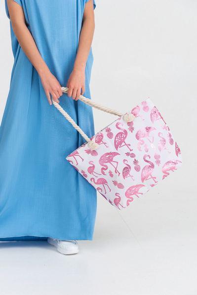 Пляжная сумка принт фламинго