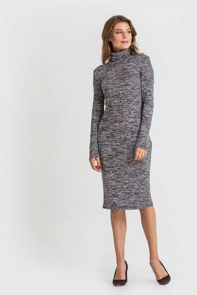 Трикотажное платье-гольф графитово-черный меланж