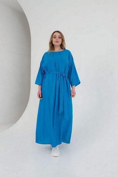 Длинное льняное платье с поясом лазурное