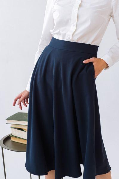 Темно-синяя юбка полусолнце