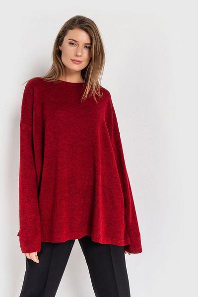 Бордовый свитер оверсайз из ангоры
