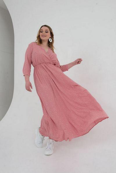 Длинное платье на запах капли на фрезовом большой размер