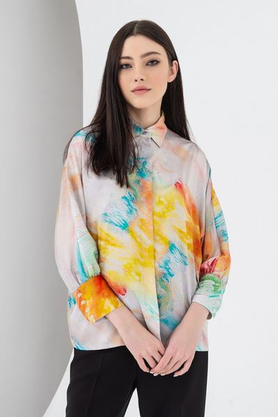 Блузка с рукавом кимоно изумрудно-бирюзовая акварель