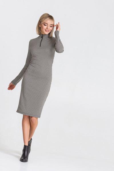 Трикотажное платье с принтом гусиная лапка