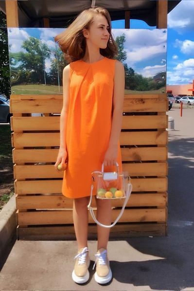 Оранжевое платье льняное А-силуэта
