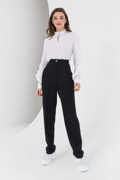 Черные брюки прямые из костюмной ткани