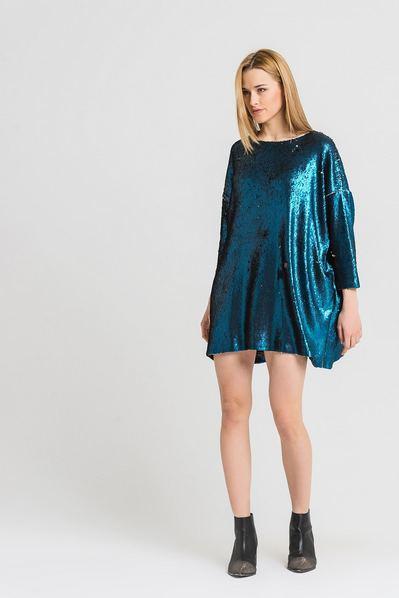 Платье мини оверсайз лазурно-золотое