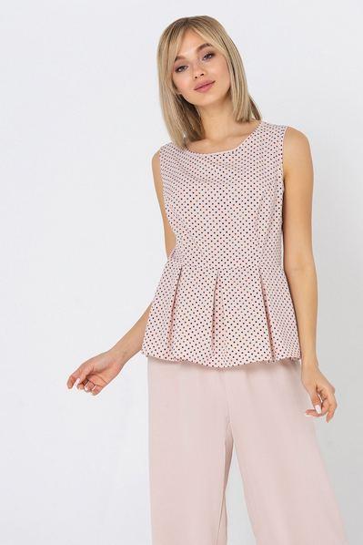 Летняя блузка с оборкой в разноцветный горох на пудровом